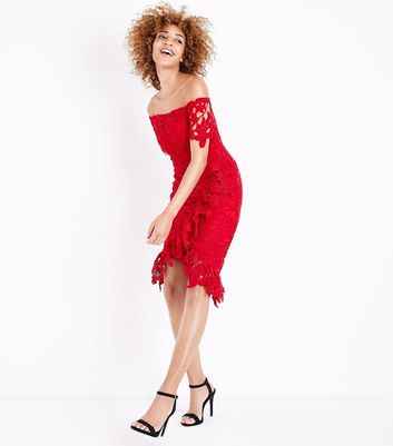 AX Paris Red Crochet Frill Trim Bardot Dress New Look