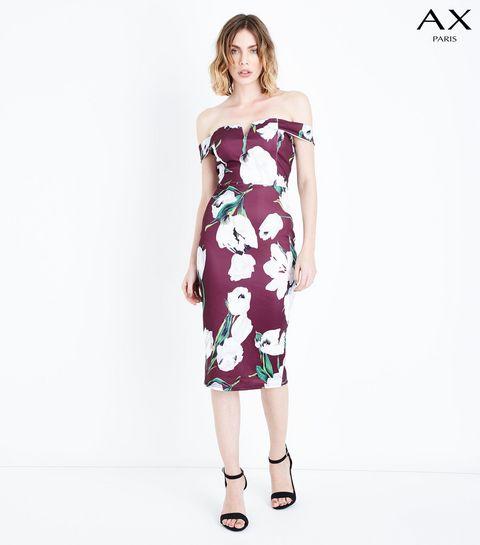 6f170889f09fa ... AX Paris - Robe mi-longue violette à imprimé floral et col Bardot ...