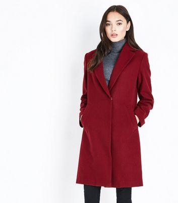 Burgundy Longline Collared Coat New Look