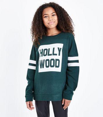 Teens Dark Green Hollywood Print Stripe Sleeve Sweatshirt New Look