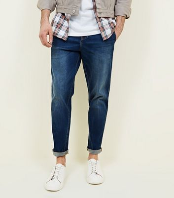Navy Rinse Wash Tapered Jeans