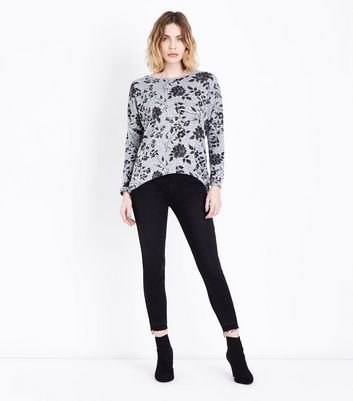Cameo Rose Grey Floral Fine Knit Top New Look