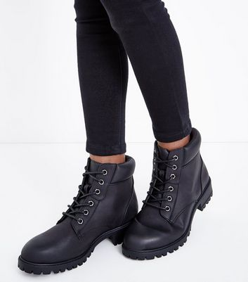 Black Contrast Cuff Lace Up Hiker Boots