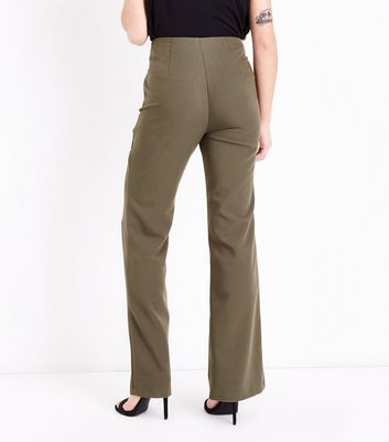 Khaki Crepe Flared Trousers New Look