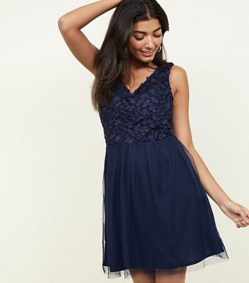 Mela Navy Lace and Mesh Skater Dress