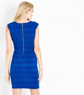 Mela Blue Textured Stripe Bodycon Dress New Look