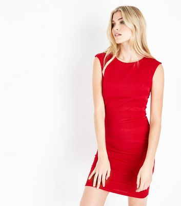 Mela Red Textured Stripe Bodycon Dress
