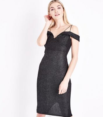 AX Paris Black Glitter Strappy Cold Shoulder Dress
