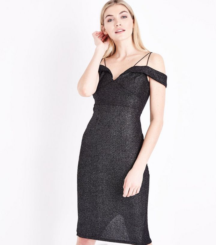 f163311fa AX Paris Black Glitter Strappy Cold Shoulder Dress | New Look