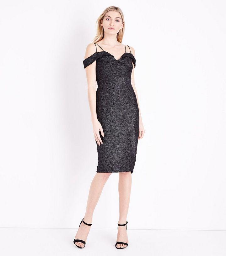 dbb4f7e4f0596 ... AX Paris Black Glitter Strappy Cold Shoulder Dress. ×. ×. ×. Shop the  look