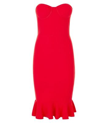AX Paris Red Frill Hem Strapless Bodycon Dress New Look