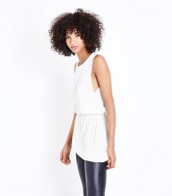 AX Paris Cream Velvet Plisse Asymmetric Top New Look