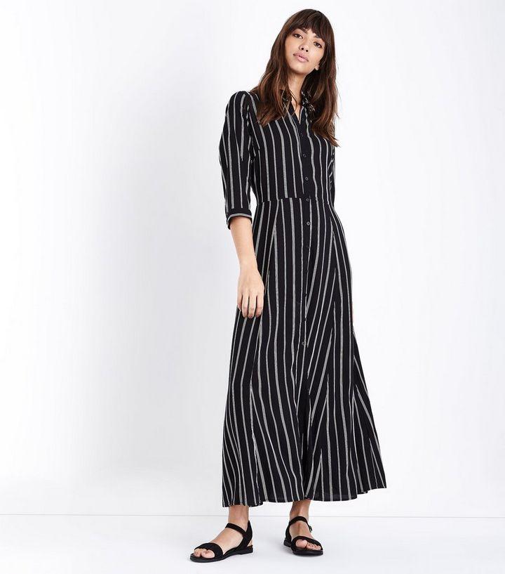 591c326732b5 Black Stripe Maxi Shirt Dress | New Look
