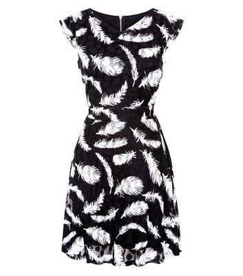 Mela Black Lace Feather Print Dress New Look