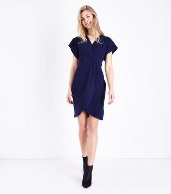 Mela Navy Wrap Front Dress New Look