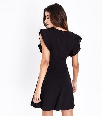 Mela Black Frill Sleeve V Neck Dress New Look