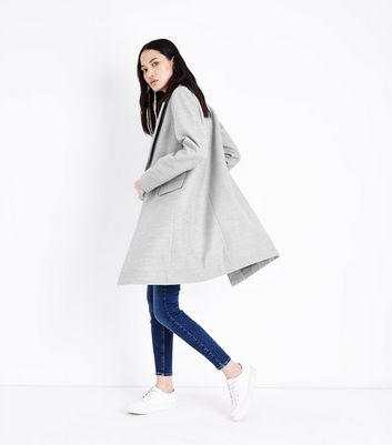 Pale Grey Single Button Coat New Look
