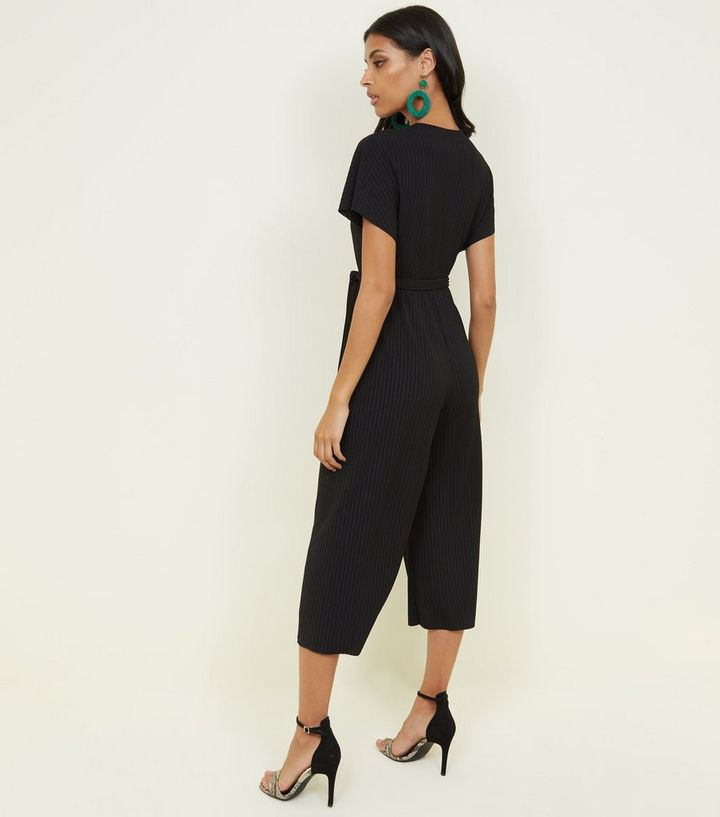 a15e5ffcbdcc ... Black Ribbed Wrap Front Culotte Jumpsuit. ×. ×. ×. Shop the look