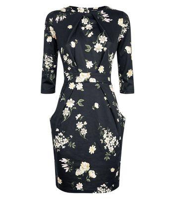 Black Floral Tulip Dress New Look
