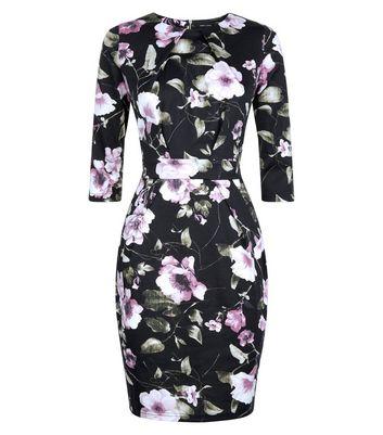 Black Floral 3/4 Sleeve Tulip Dress New Look