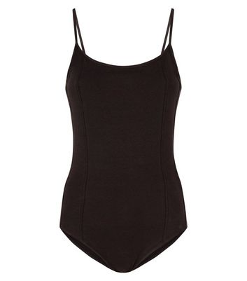 Black Panelled Strappy Bodysuit New Look