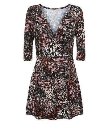 Apricot Black Leaf Pattern Wrap Dress New Look
