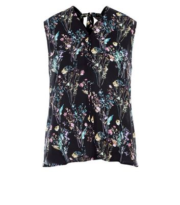 Apricot Black Floral Print Tie Back Top New Look