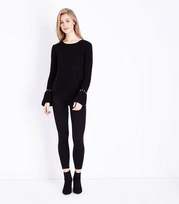 Mela Black Pearl Cuff Cable Knit Jumper New Look