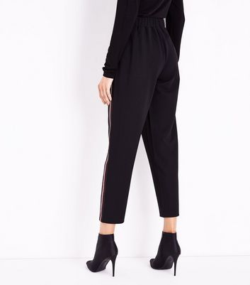 Black Side Stripe Tapered Trousers New Look