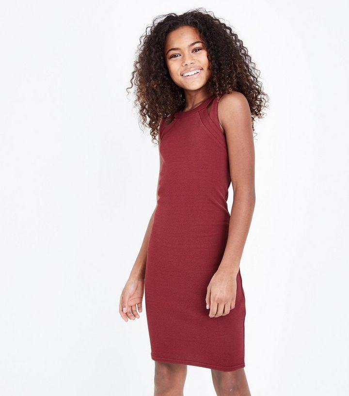 6cbb08a0f100 Teens Burgundy Cut Out Sleeveless Bodycon Dress
