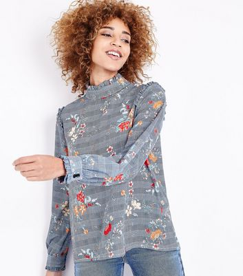 Innocence Blue Floral Check Frill Trim Blouse New Look