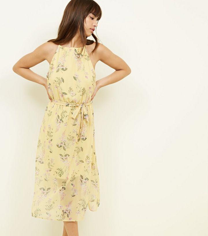 084039d0f83 Yellow Floral Chiffon High Neck Midi Dress