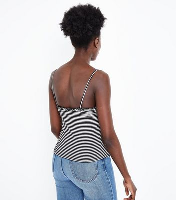 White Stripe Frill Trim Ribbed Cami New Look