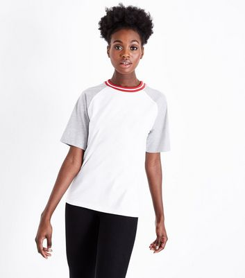 White Stripe Neck Raglan T-Shirt New Look