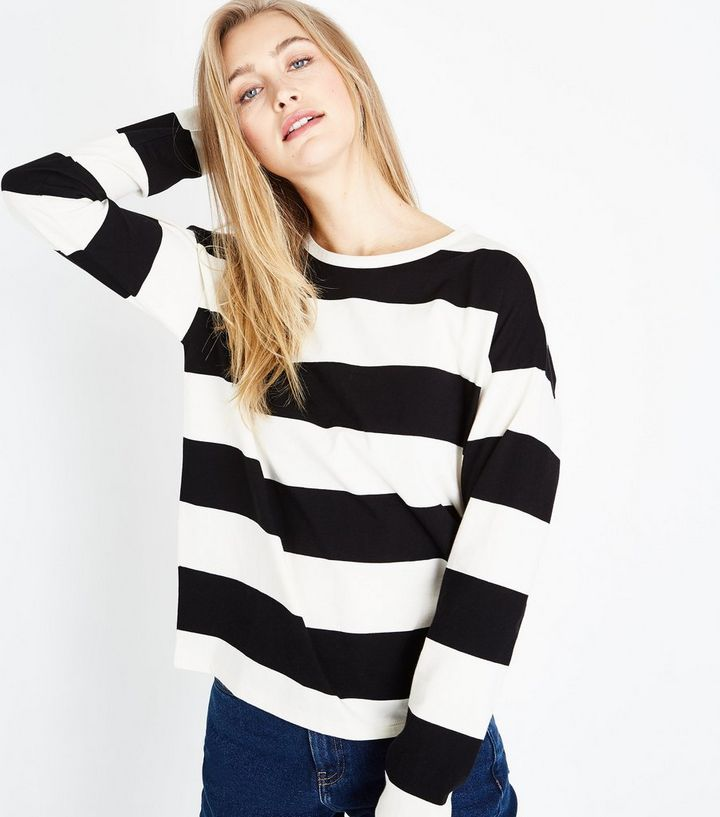 80a9af426 White Stripe Slouchy Long Sleeve T-Shirt Add to Saved Items Remove from  Saved Items