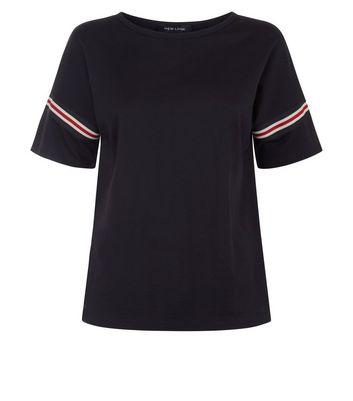 Black Tape Stripe Sleeve T-Shirt New Look