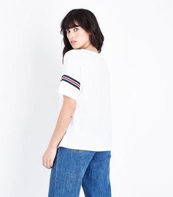 Cream Tape Stripe Sleeve T-Shirt New Look