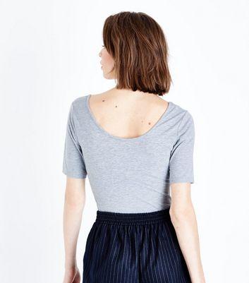 Grey Marl Scoop Neck 1/2 Sleeve Bodysuit New Look