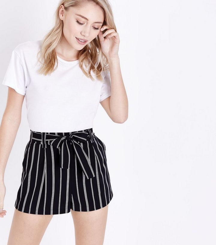 luxuriant in design fast color most reliable Petite Black Stripe Tie Waist Shorts Add to Saved Items Remove from Saved  Items