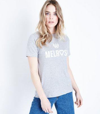 Grey Melrose Heart Print T-Shirt New Look