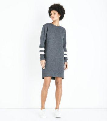 Dark Grey Stripe Sleeve Sweater Dress New Look