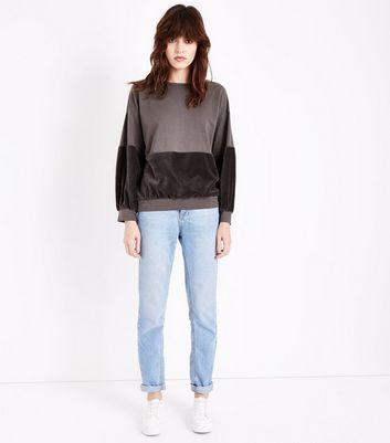 Lulua London Brown Velvet Panel Sweatshirt New Look