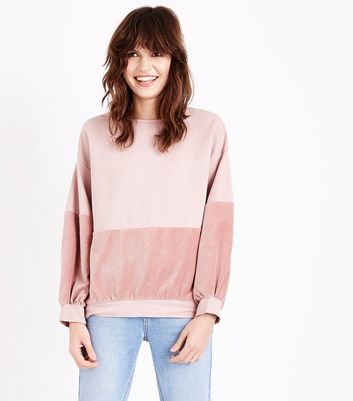 Lulua London Shell Pink Velvet Panel Sweatshirt New Look