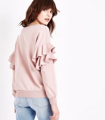 Lulua London Shell Pink Frill Sleeve Sweater New Look