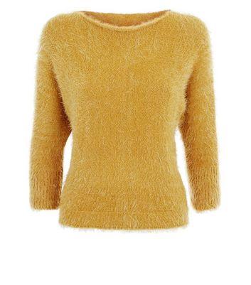 Lulua London Yellow Fluffy Scoop Neck Jumper New Look