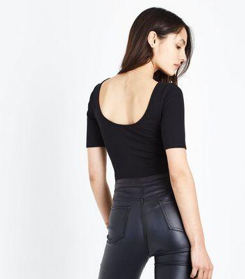 Tall Black Short Sleeve Scoop Back Bodysuit New Look