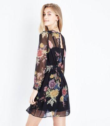 Black Chiffon Shirred Waist Mini Dress New Look