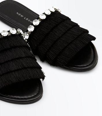 Wide Fit Black Tassel Gem Strap Sliders New Look