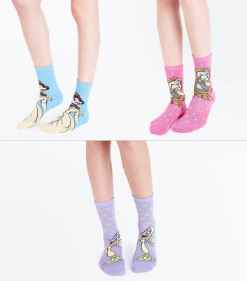 3 Pack Multicoloured Beauty and the Beast Disney Socks