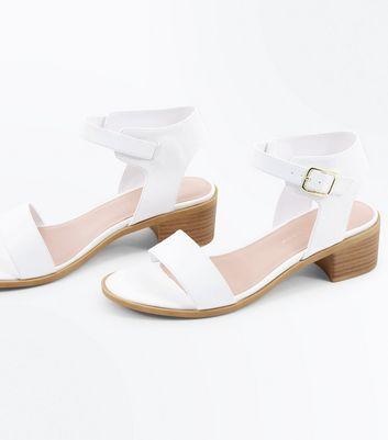 Wide Fit White Low Block Heel Sandals